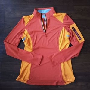REI red & orange long sleeve half zip athletic top